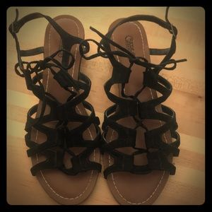 Black suede strapped sandals